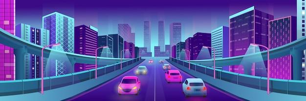 Panorama neonstadt mit hellen häusern, überführungen, straße und autos. Premium Vektoren