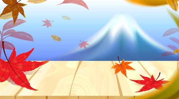 Panorama von herbstsaisonrotahornblättern mit fuji-berg in weltberühmten marksteinen japans, reisekonzept Premium Vektoren
