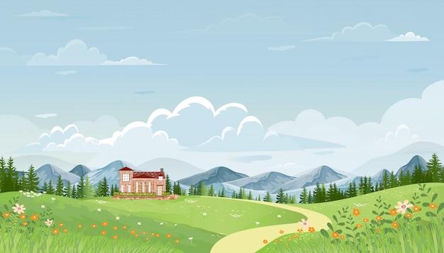 Panoramaansicht des frühlingsdorfes mit grüner wiese auf hügeln mit blauem himmel, vektor-sommer- oder frühlingslandschaft, panoramische landschaftslandschaftsgrünfeld mit grasblumen auf bergen und bauernhaus. Premium Vektoren