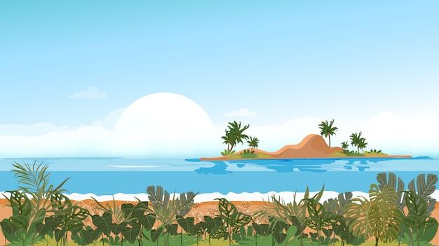 Panoramaansicht tropischer meerblick der blauen ozean- und kokosnusspalme auf insel, panoramischem seestrand und sand mit blauem himmel, vector flache artnatur der illustration der landschaftsküste für sommerferien Premium Vektoren