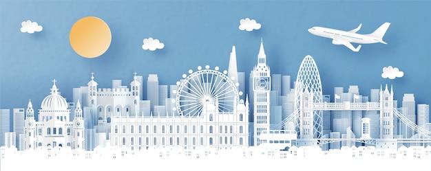 Panoramaansicht von london, von england und von stadtskylinen mit weltberühmten marksteinen Premium Vektoren