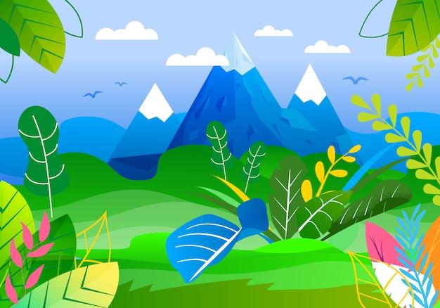 Panoramablick auf berggipfel und green valley Premium Vektoren