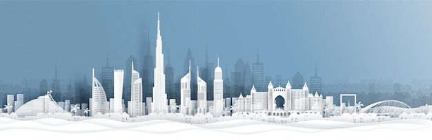 Panoramablick auf dubai und die skyline der stadt mit weltberühmten sehenswürdigkeiten im papierschnittstil Premium Vektoren