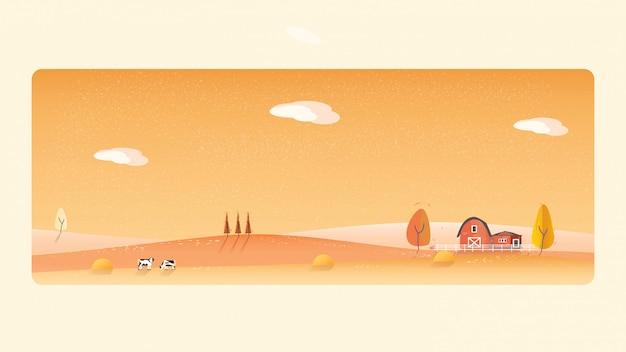 Panoramaillustration der landschaftslandschaft im herbst, die gelben laubberge oder -hügel Premium Vektoren