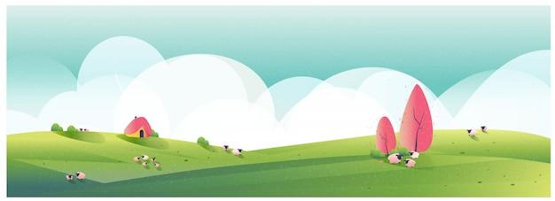 Panoramaillustration der landschaftslandschaft minimalistische illustration der schäferei im frühjahr grünes tal mit hellem himmel und wolke ich Premium Vektoren