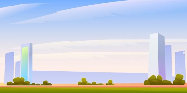 Panoramaillustration der skyline des städtischen gebäudes mit copyspace Kostenlosen Vektoren