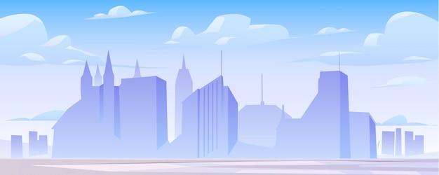 Panoramaillustration der skyline des städtischen gebäudes Kostenlosen Vektoren