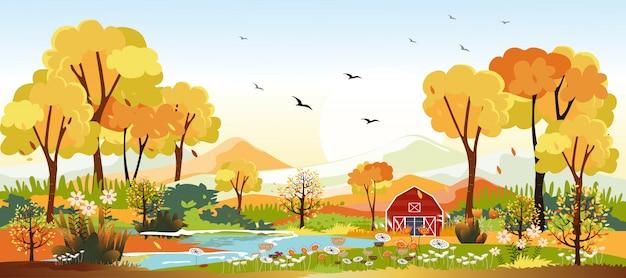 Panoramalandschaften der landschaft im herbst. panoramisch vom mittleren herbst mit bauernhof im gelben laub. märchenlandlandschaft in der herbstsaison. Premium Vektoren