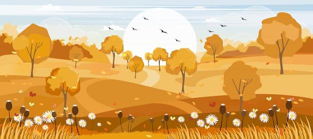 Panoramalandschaften des herbstbauernhoffeldes mit den ahornblättern, die von den bäumen fallen Premium Vektoren