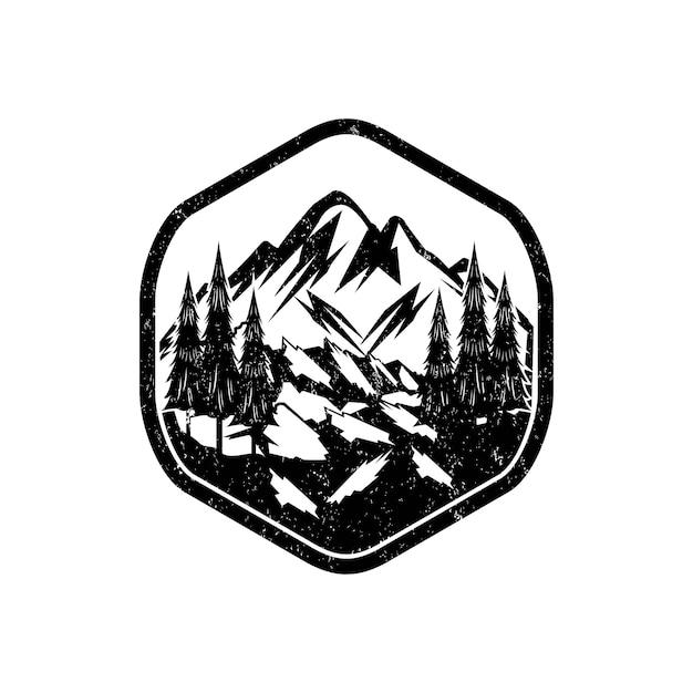 Panorma des vintagen berglogos Premium Vektoren