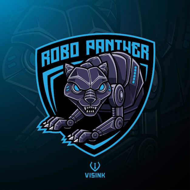 Panther roboter maskottchen logo design Premium Vektoren