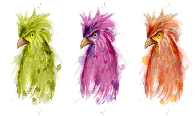 Papageien vogel aquarell satz Premium Vektoren