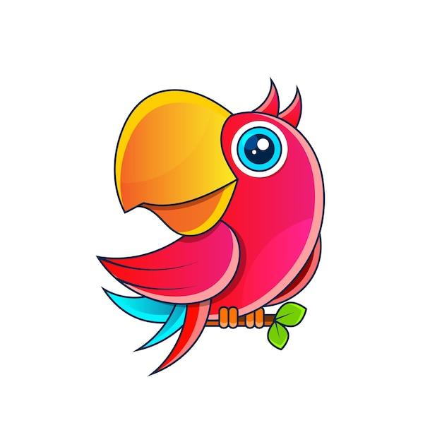 Papageienvorratillustration auf einem weißen hintergrund. dekoration, logo. Premium Vektoren