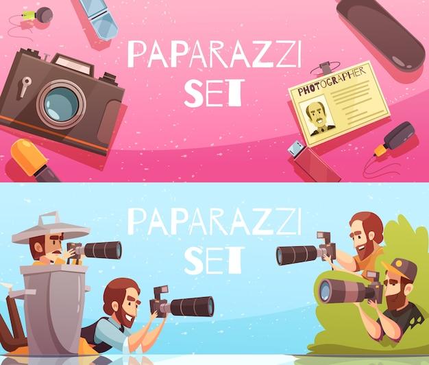 Paparazzi-horizontale fahnen-sammlung Kostenlosen Vektoren
