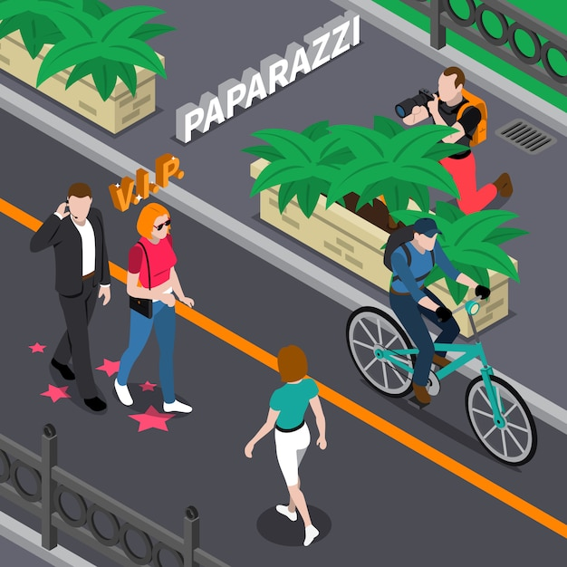 Paparazzi-isometrische illustration Kostenlosen Vektoren