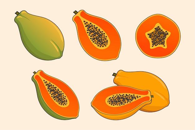 Papaya-fruchtset Premium Vektoren