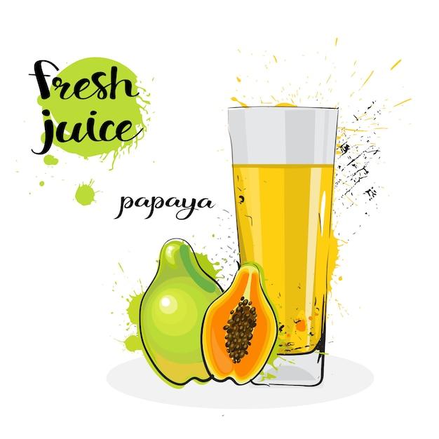 Papaya-saft-frische hand gezeichnete aquarellfrüchte und -glas auf weißem hintergrund Premium Vektoren