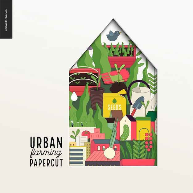 Papercut - buntes geschichtetes haus zur urbanen landwirtschaft Premium Vektoren