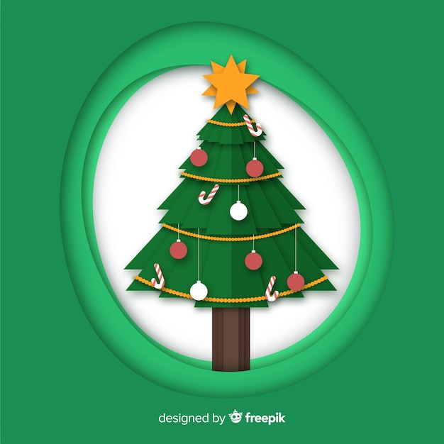 Papercut-weihnachtsbaum Kostenlosen Vektoren