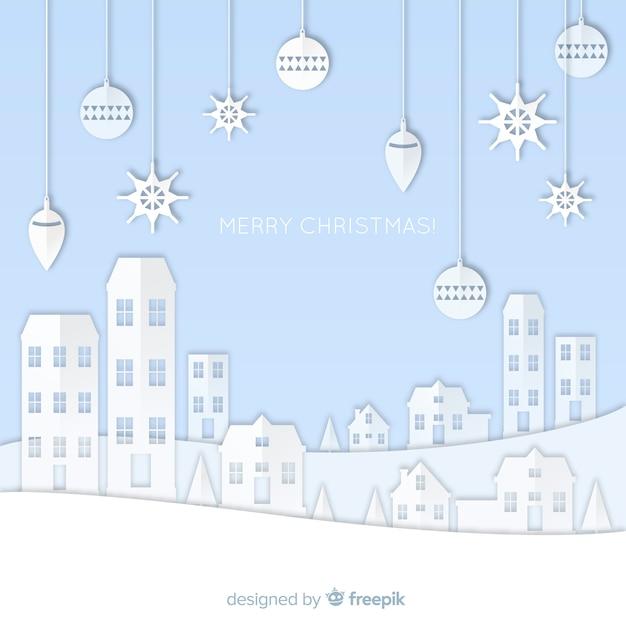 Papercut weihnachtsstadt Kostenlosen Vektoren