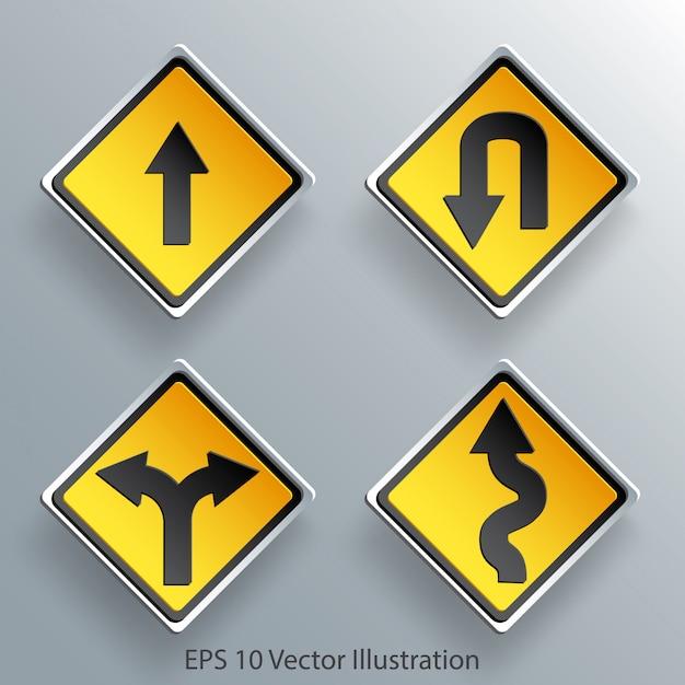 Papier des richtungsverkehrszeichens 3d Premium Vektoren