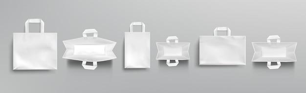 Papier einkaufstaschen oben und vorderansicht modell Kostenlosen Vektoren