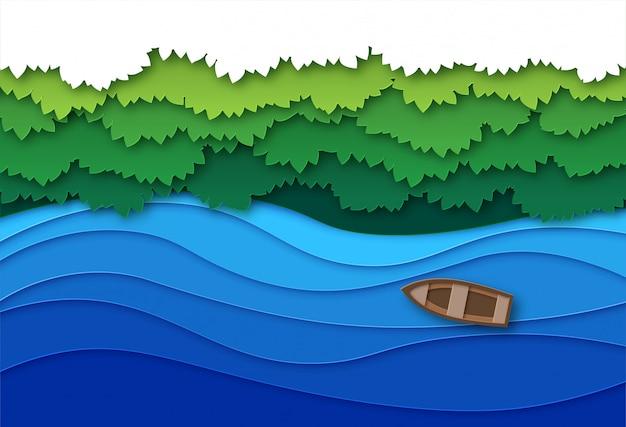 Papier geschnittener fluss. draufsicht wasserstrom und grüne tropische waldbäume baldachin. kreative origami natürliche luftlandschaft Premium Vektoren
