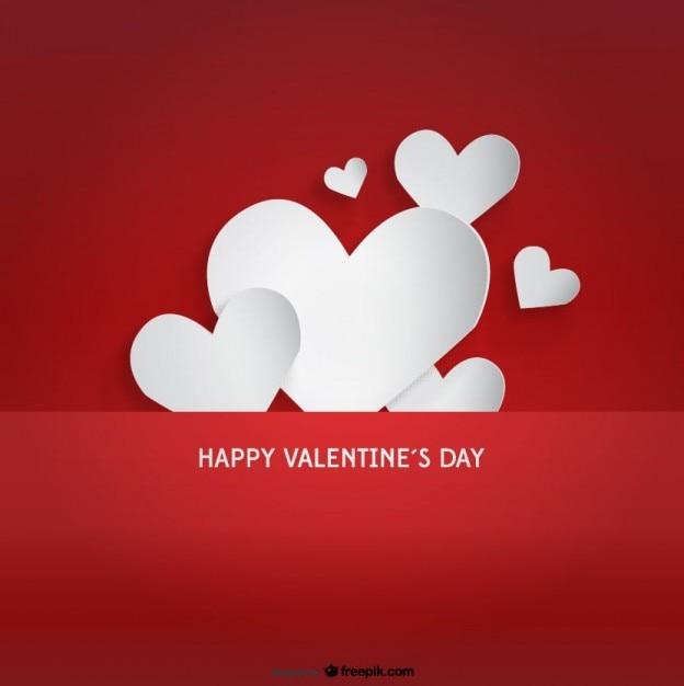 Papier Herzen Valentinstag Karte Design Kostenlose Vektoren