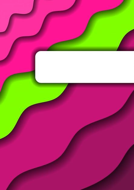 Papier schnitt den grünen und rosa wellen- und schattenhintergrund Premium Vektoren