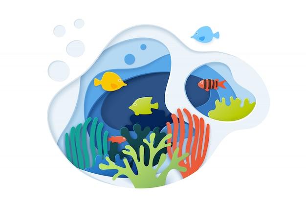 Papier schnitt unterwasserozean mit korallenriff, fischen, meerespflanze, blasen und wellen Premium Vektoren