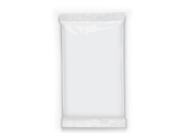Papier white flow verpackung mit transparenten schatten isoliert Premium Vektoren