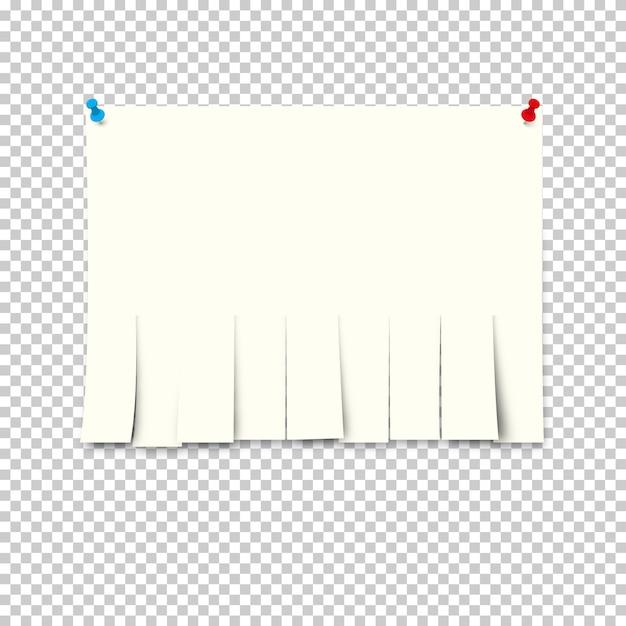Papieranzeige mit abreißpapieren auf transparentem hintergrund. Premium Vektoren