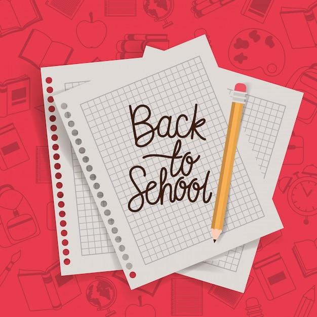 Papierblätter und bleistift zurück in die schule Kostenlosen Vektoren
