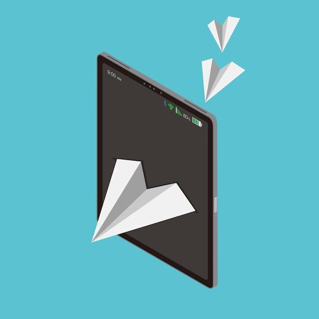 Papierfliegenfreiheit ist technologie und kommunikation Premium Vektoren