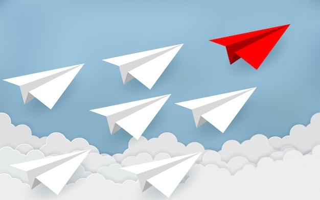 Papierflugzeuge konkurrieren mit zielen. geschäftsfinanzkonzepte konkurrieren um den erfolg Premium Vektoren