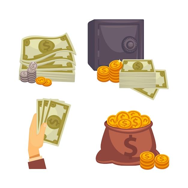 Papiergeld und tasche. konzept der großen. Premium Vektoren