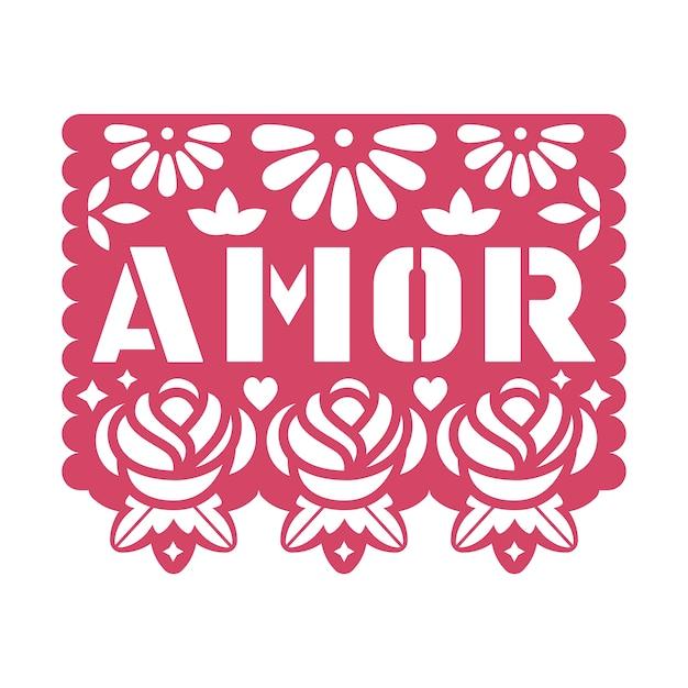 Papiergrußkarte mit ausgeschnittenen blumen und text amor. Premium Vektoren