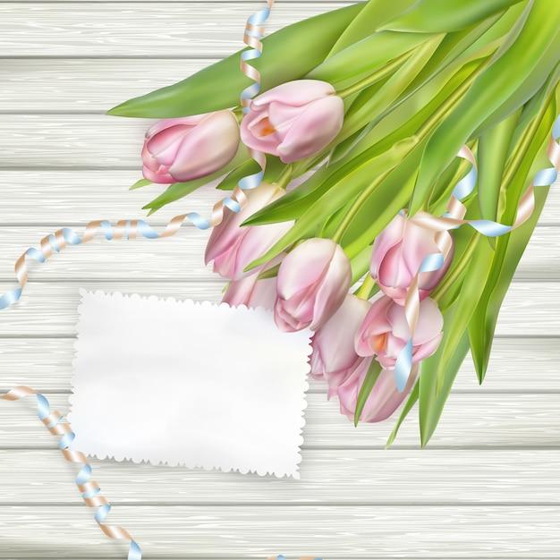 Papierkarte mit tulpen. Premium Vektoren