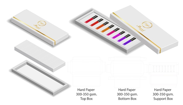 Papierkastenform für lippenstifte verpacken dieline Premium Vektoren