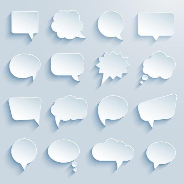 Papierkommunikations-sprechblasen Kostenlosen Vektoren