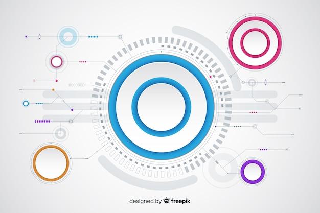 Papierkreis mit leiterplattehintergrund Kostenlosen Vektoren