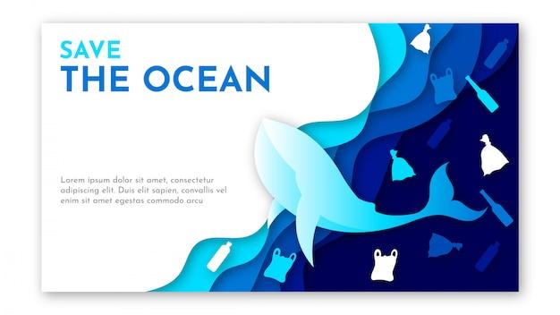 Papierkunst der weltozean-tagesschablone mit blauem meer, müll von plastik und walillustration Premium Vektoren