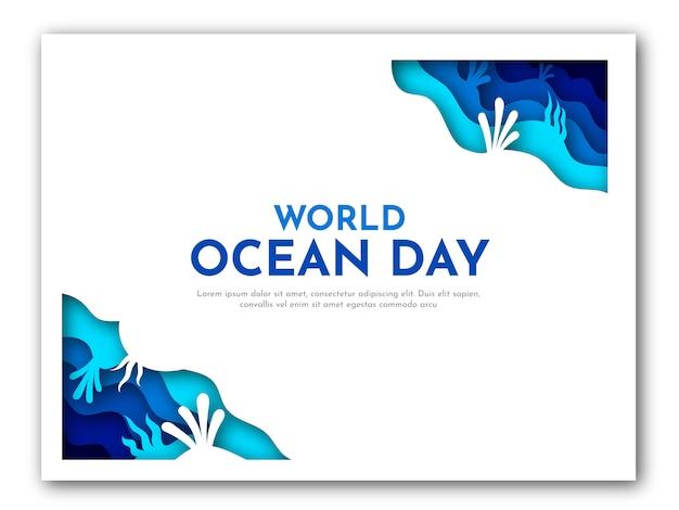 Papierkunst der weltozean-tagesschablone mit blauem meer und korallenillustration Premium Vektoren