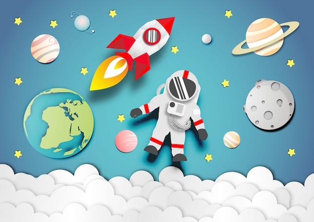 Papierkunst des astronauten und der rakete oder des raumschiffes im weltraumhintergrund Premium Vektoren