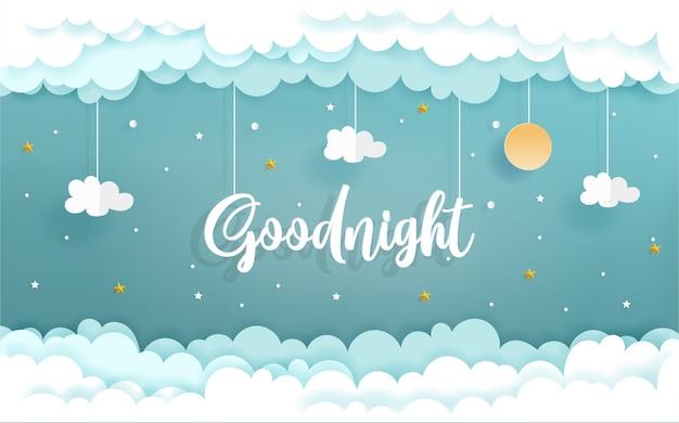 Papierkunst mit goodnight-konzept mit wolke und stern Premium Vektoren
