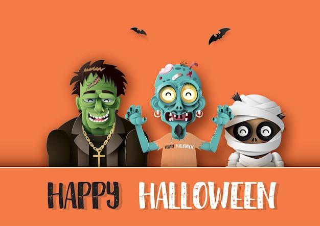 Papierkunst von happy halloween Premium Vektoren