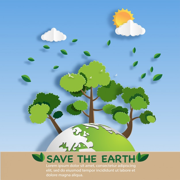 Papierkunstart der landschaft mit eco grüner stadt. Premium Vektoren