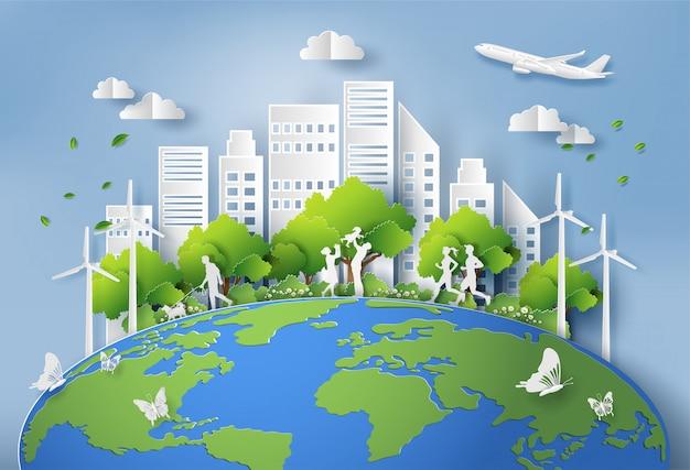 Papierkunstart der landschaft mit eco grünstadt. Premium Vektoren