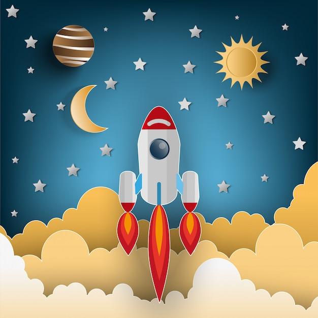 Papierkunstart der rakete fliegend über den himmel, flache artillustration. konzept starten Premium Vektoren