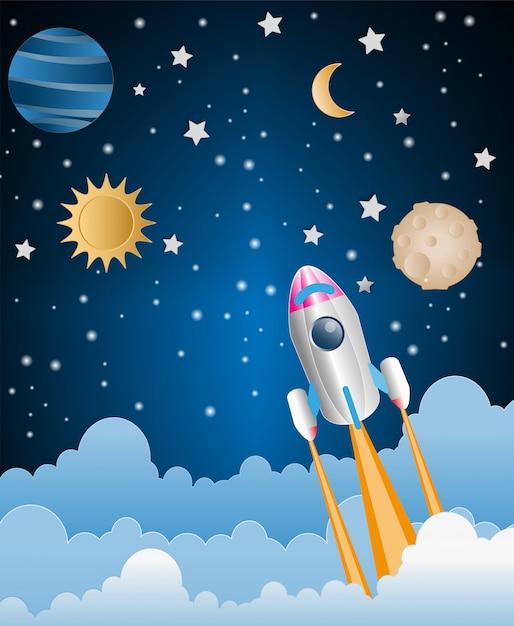 Papierkunstart der rakete fliegt über den himmel Premium Vektoren